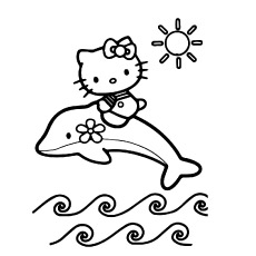 Hello Kitty Playing With Dolphin Coloring Sheets Printable