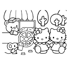 hello kitty eating popcorn coloring pages