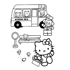Hello Kitty and School Bus to Color