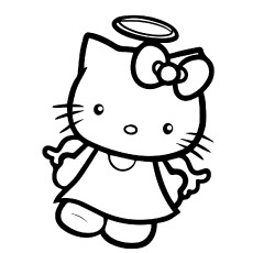 hello kitty as angel printable kids coloring sheets