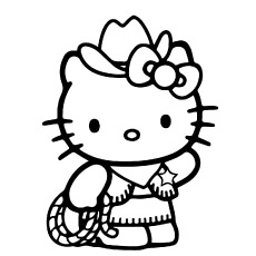 Cute Hello Kitty as Cow Boy to Color Sheets