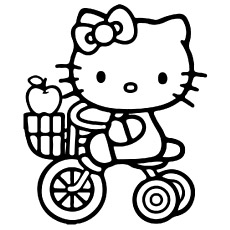 Kitty Riding Cycle Picture To Color Hello