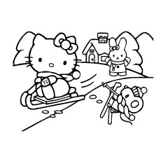 Hello Kitty Enjoying Snow Skating with Friends Coloring Pages to Print