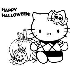 Coloring Image of Hello Kitty Happy Halloween to Print