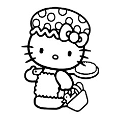 Hello Kitty Going to Bathing Printables Colouring Pages