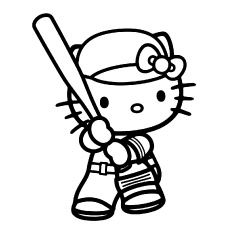 Hello Kitty Playing Baseball Game free Printable to Color