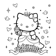 Hello Kitty Princess Pictures Coloring Sheet