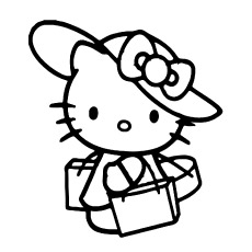 Hello Kitty Shoping Printable Coloring Page For Kids