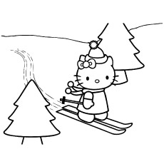 Coloring Hello Kitty Skating on Christmas Day