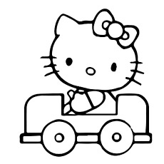 hello kitty traveling in a car printable coloring pages