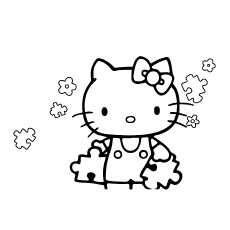 Hello Kitty with Puzzle Pieces to Color Free