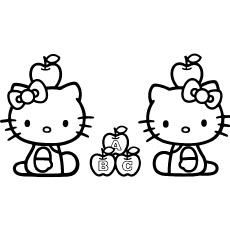 Hello Kitty with Apples Printable Sheets to Color
