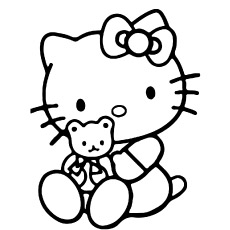 Coloring of Hello Kitty with Teddy Bear
