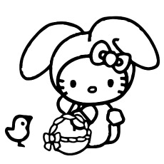 Hello Kitty with Bag Coloring Sheet Free