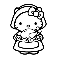 Pictures of Hello Kitty with Food to Color