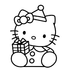 Free Printable Coloring Page of Hello Kitty with Gift Box