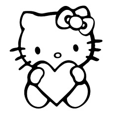 Hello Kitty with Heart Coloring Sheets Printable for Kids