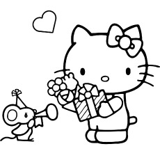 Hello Kitty with Mouse to Color