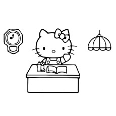 Free Coloring Pages of Hello Kitty Working in the Office