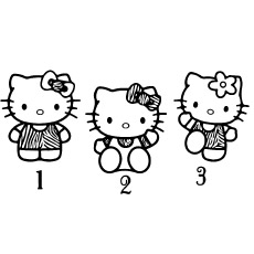 Hello Kittys with Numbers Picture to Color
