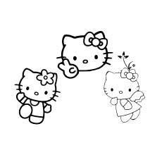 Coloring Sheet of Hello Kitty and Two Friends