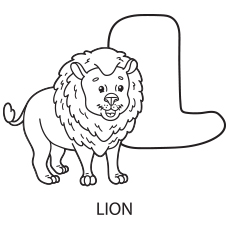 Alphabet L for Lion to Color