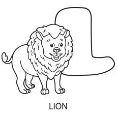 Alphabet L for Lion to Color