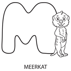Alphabet M for Meerkat Coloring Page