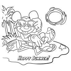 Mickey Mouse During Summer to Color Free