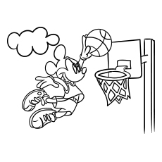 Mickey Mouse Playing Basket Ball Coloring Page to Print