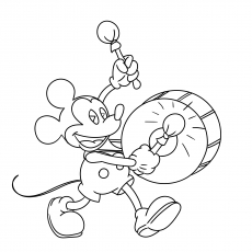 Mickey Mouse Playing Drums