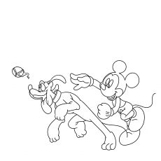 Mickey Mouse Playing with Pluto