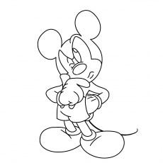Mickey Thinking Coloring Sheet to Print
