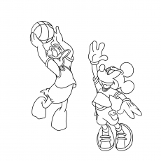 Mickey and Donald Duck Playing Basket Ball