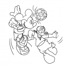 Mickey and Donald Duck Playing Foot Ball