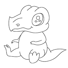 Red Baby Dinosaur Coloring Page