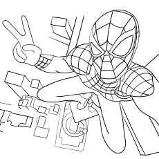 Spiderman From Top Of The Tower Coloring Sheet