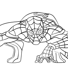 Coloring Sheet of Spiderman Home Coming For Kids