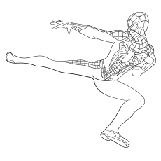 Spiderman Kicking The Vilan Coloring Page for Free