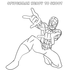 Spiderman Ready to shoot coloring image
