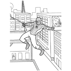 Spiderman Swinging from One Building Coloring Pages