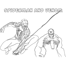 Spiderman and Venom Together Coloring Pages