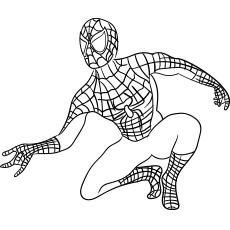 Printable Coloring Page of Spiderman who on the Roof