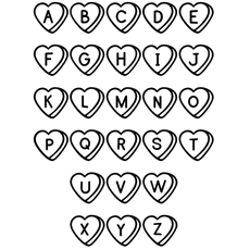 Alphabet inside Hearts Shaped Coloring Pages