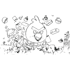 Coloring Pages of Angry Birds In Action