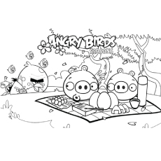 Angry Birds are at Picnic Coloring Pages