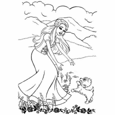 barbie groom and glam pups coloring pages - Barbie Coloring Page
