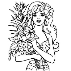 Barbie Love Flowers Coloring Pages