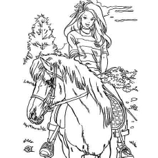 Free Printable Barbie Coloring Pages For Girls Plain Loves Horse Riding