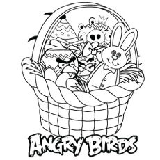 Basket Full of Angry Birds Coloring Pages to Print